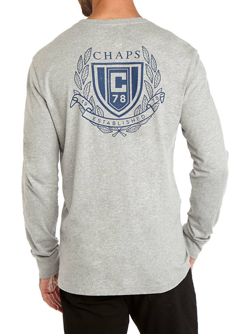 Mens Lead Table Long Sleeve Graphic T-Shirt Gray Heather