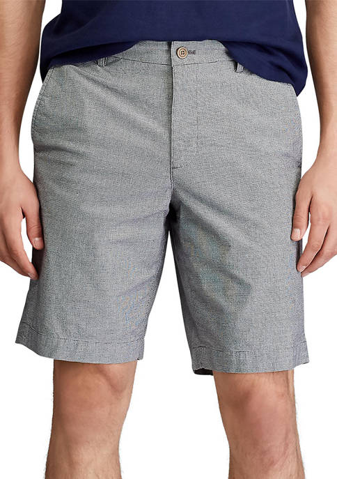 Stretch Micro-Houndstooth Flat Front Shorts