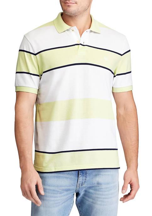 Chaps Short Sleeve Everyday Piqué Stripe Polo Shirt