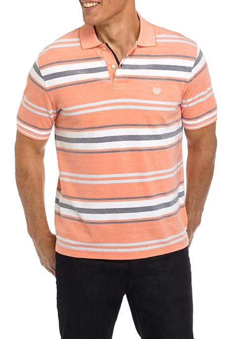 Chaps Mens Short Sleeve Birdseye Multi Stripe Polo