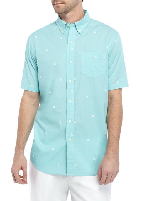 Chaps Short Sleeve Palm Print Shirt