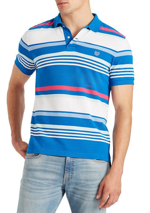 Chaps Short Sleeve Striped Piqué Polo Shirt