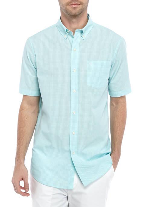 Chaps Short Sleeve Micro Check Button Down Shirt