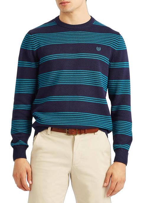 Chaps Stripe Crew Neck Navy Sweater
