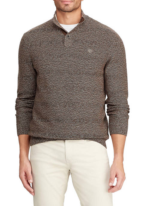 Chaps Long Sleeve Mock Neck Button Sweater