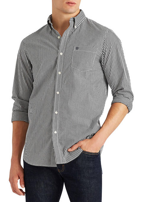 Chaps Long Sleeve Stretch Easy Care Gingham Button-Down