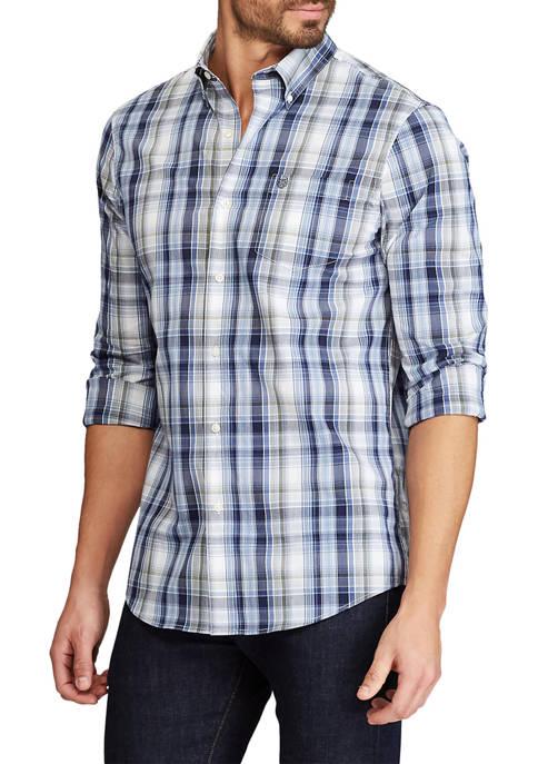Chaps Stone Wash Plaid Button Down Shirt