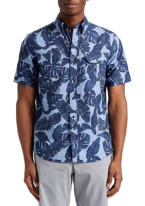Chaps Short Sleeve Tropical Print Button Down Shirt
