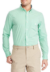 Big and Tall Long Sleeve Stripe Classic Kelly Button Down Shirt