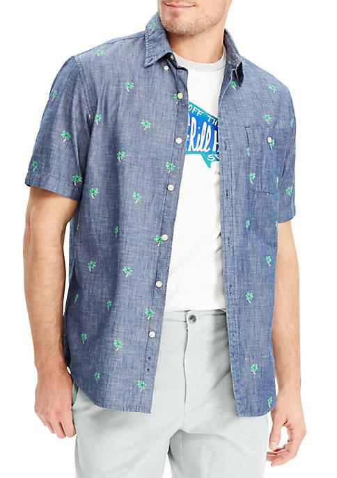Chaps big tall printed cotton short sleeve shirt belk for Big and tall printed t shirts