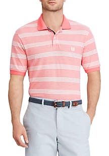 Big & Tall Short Sleeve Striped Cotton Mesh Polo Shirt