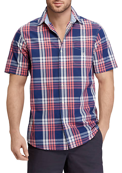 Chaps Big & Tall Plaid Cotton-Blend Short-Sleeve Shirt