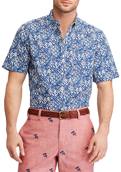 Chaps Big & Tall Print Short-Sleeve Shirt