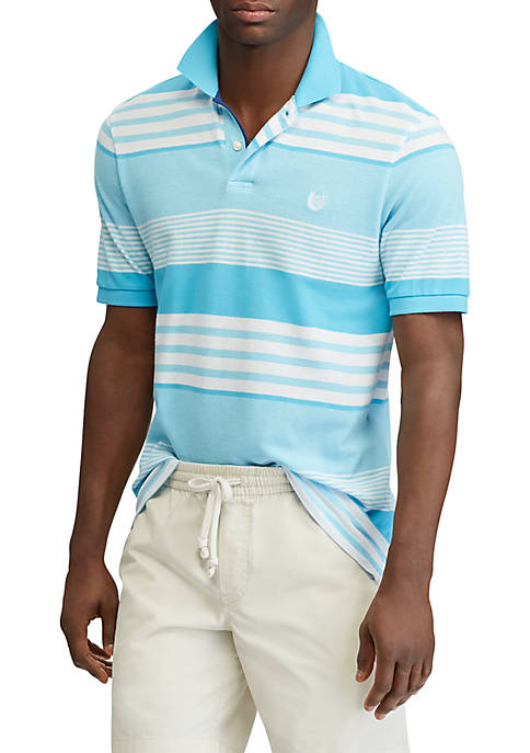 Chaps Big & Tall Striped Cotton Mesh Polo