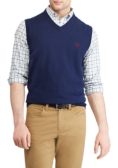 Chaps Big & Tall Cotton V-Neck Sweater Vest