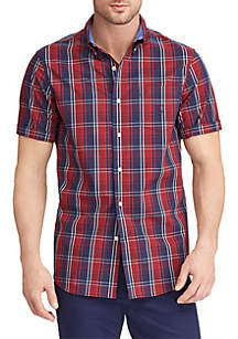 Big & Tall Easy Care Short Sleeve Plaid Poplin Shirt