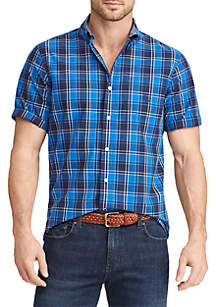 Big & Tall Short Sleeve Plaid Poplin Shirt