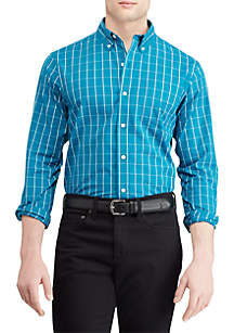 Big & Tall Easy Care Stretch Cotton-Blend Long-Sleeve Shirt