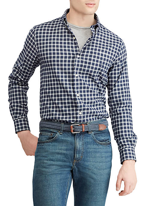 Chaps Big & Tall Stretch Cotton-Blend Long-Sleeve Shirt