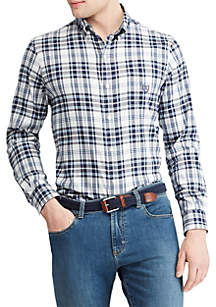 Big & Tall Stretch Cotton-Blend Long-Sleeve Shirt