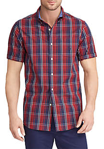 Big & Tall Short Sleeve Easy Care Plaid Button Down Shirt