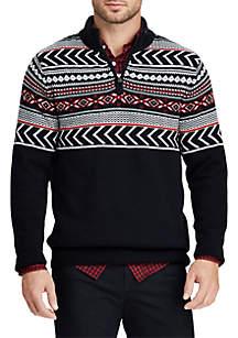 Big & Tall Jacquard Mock Neck Sweater