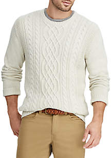 Big & Tall Cable-Knit Mockneck Sweater