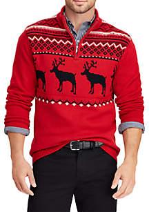 Big & Tall Intarsia-Knit Mockneck Sweater