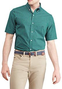 Big & Tall Short Sleeve Small Check Poplin Shirt