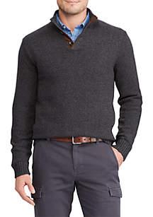 Big & Tall Button Mockneck Sweater