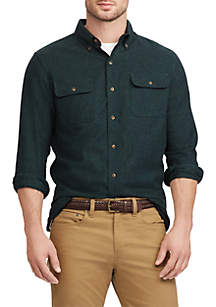 Men's Big & Tall Cotton Twill Utility Shirt