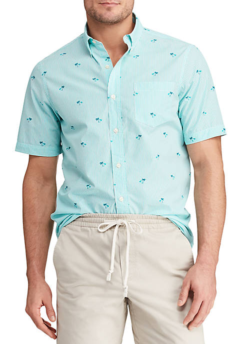 Chaps Big & Tall Printed Cotton-Blend Short Sleeve