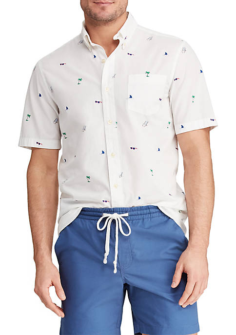 Big & Tall Printed Cotton Blend Short Sleeve Shirt