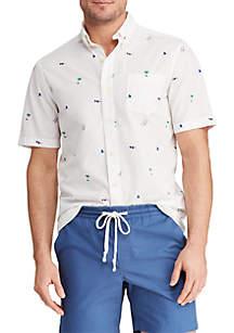 Chaps Big & Tall Printed Cotton Blend Short Sleeve Shirt