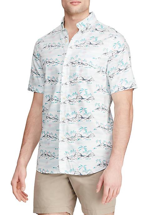 Big & Tall Short Sleeve Printed Sport Shirt