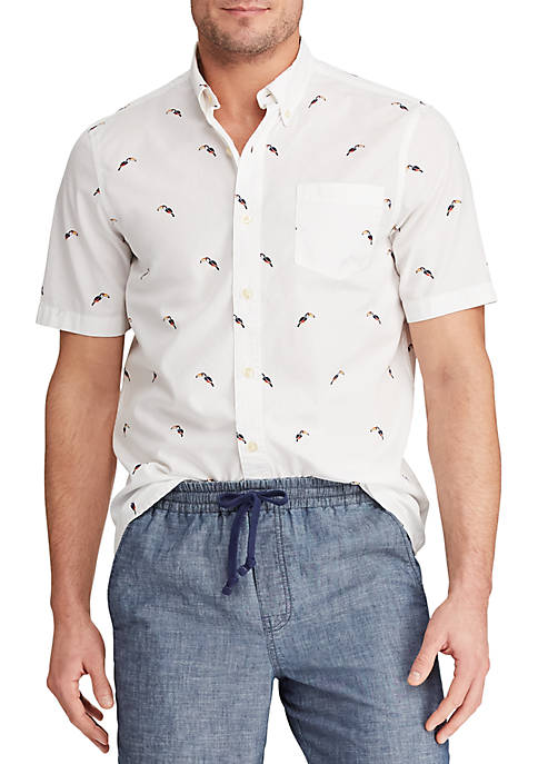 Chaps Big & Tall Printed Cotton-Blend Short Sleeve