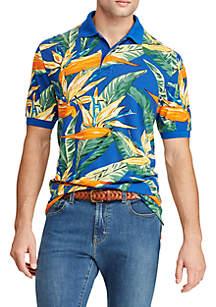 Chaps Big & Tall Floral-Print Mesh Polo Shirt