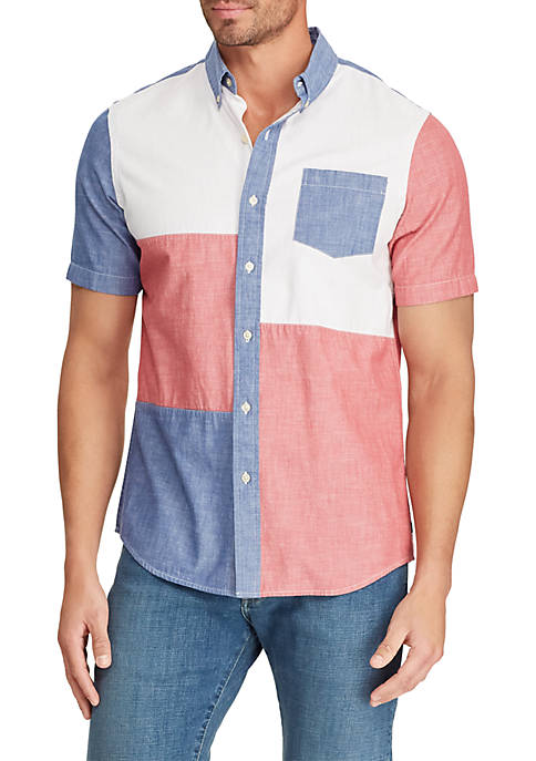 Chaps Big & Tall Color Blocked Short Sleeve