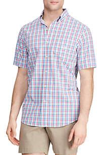 Chaps Big & Tall Short Sleeve Easy Care Poplin Plaid Shirt