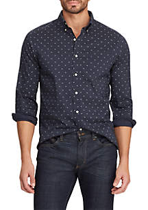 Chaps Big & Tall Long Sleeve Easy Care Navy Printed Shirt