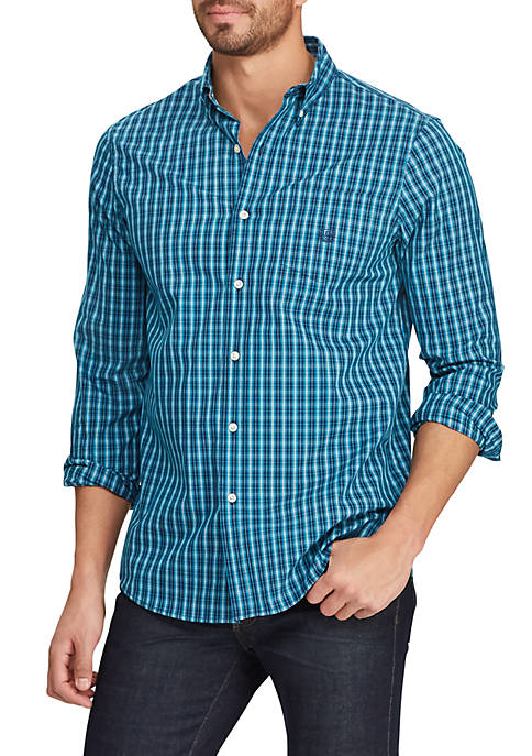 Chaps Big & Tall Easy Care Plaid Button