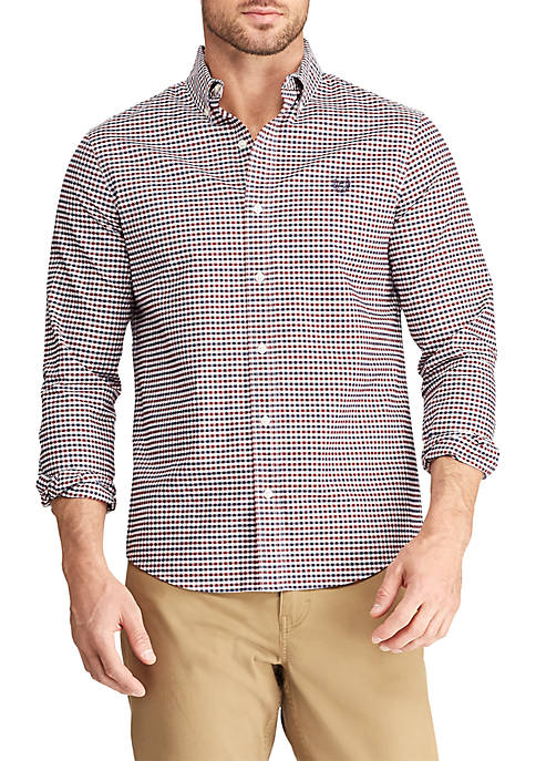 Chaps Big & Tall Long Sleeve Gingham Oxford