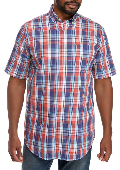 Chaps Big & Tall Short Sleeve Poplin Button