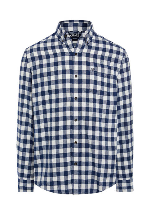 Chaps Big & Tall Checkered Flannel Button Down