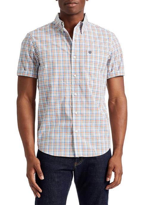 Big & Tall Short Sleeve Woven Button Up Plaid Shirt
