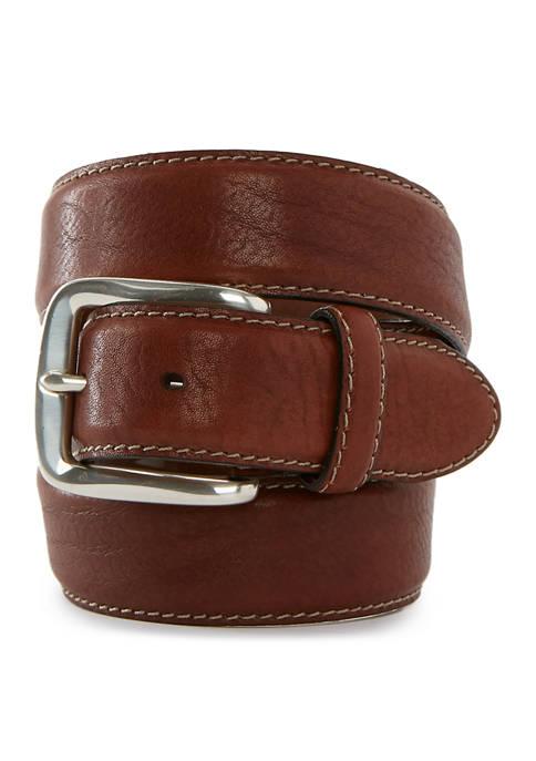 Mens Stitched Edge Polished Silver Buckle Belt
