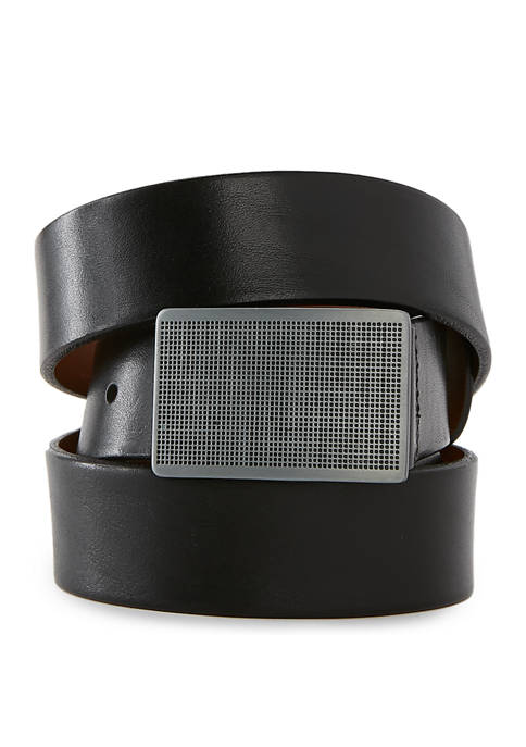 Bosca Mens Dark Satin Plaque Buckle Belt
