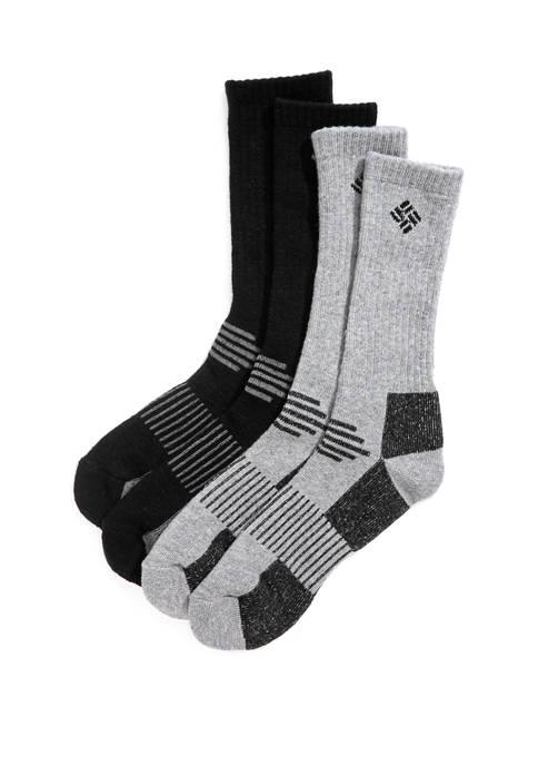 2 Pack Pattern Stripe Wool Crew Socks