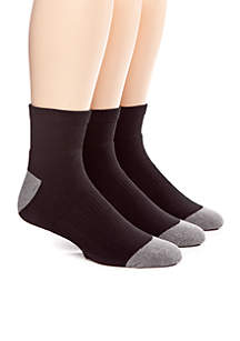 3-Pack Athletic Quarter Socks