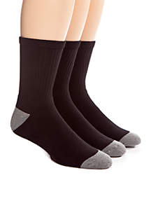 3-Pack Full Cushion Athletic Crew Socks